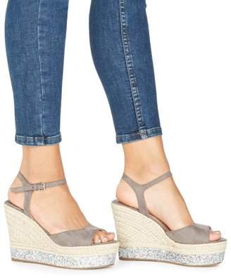 Faith Grey 'Liddy' High Wedge Heel Ankle Strap Sandals