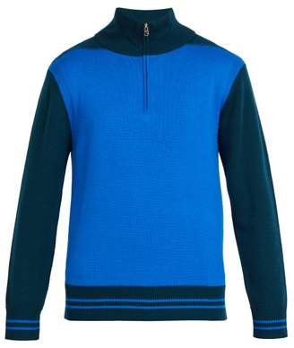 Paul Smith Half Zip Colour Block Wool Sweater - Mens - Blue Multi