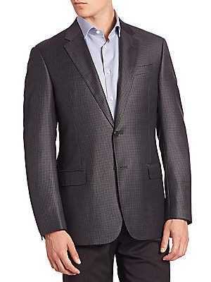 Armani Collezioni Men's Houndstooth Wool Jacket