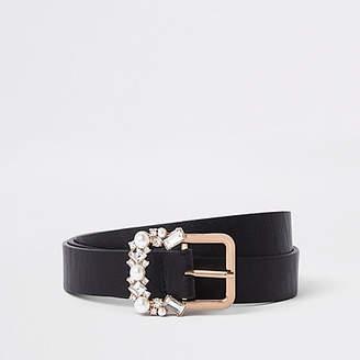 River Island Black slim jewel embellished buckle belt