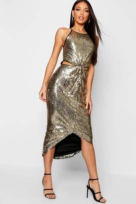 boohoo Sequin Twist Front Midi Dress
