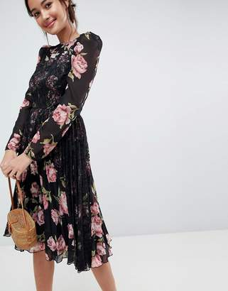 Asos Floral Insert Midi Dress with Long Sleeves