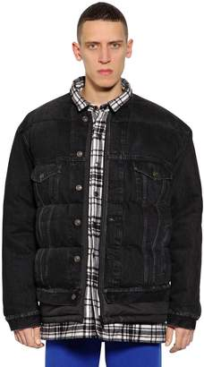 Balenciaga Quilted Denim Jacket W/ Plaid Details