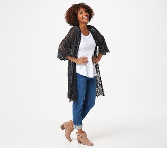 Isaac Mizrahi Live! Lace Open Front Duster