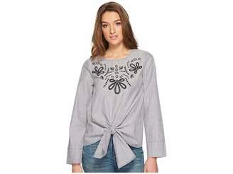 Kensie Classic Striped Shirting Top KS1K4379 Women's Clothing