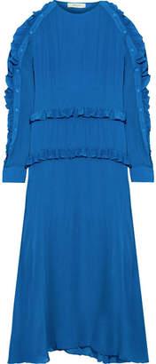 Preen Line Amata Ruffle-trimmed Crepe Midi Dress - Bright blue