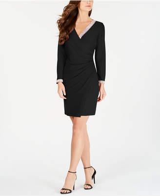 MSK Petite Embellished Faux-Wrap Dress