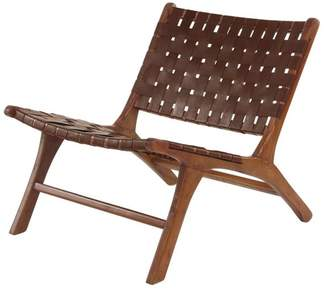Brimfield & May Midcentury Mahogany Wood and Leather Country Chair