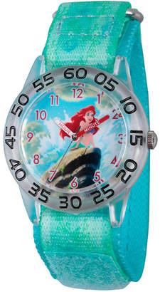 Disney Girls Green and Silver Tone Ariel The Little Mermaid Time Teacher Strap Watch W002910