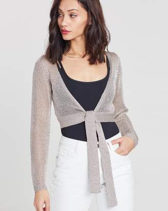 Missguided Metallic Knit Wrap Over Top