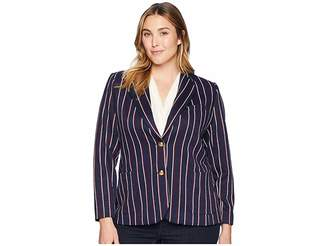 Lauren Ralph Lauren Plus Size Striped Jacquard Blazer
