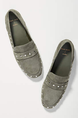 Anthropologie Black Suede Studio Studded Loafers