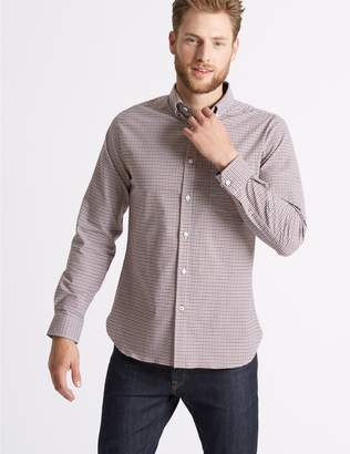 Marks and Spencer Cotton Rich Slim Fit Checked Oxford Shirt
