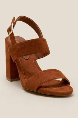 Amaya Double Strap Block Heel - Cognac