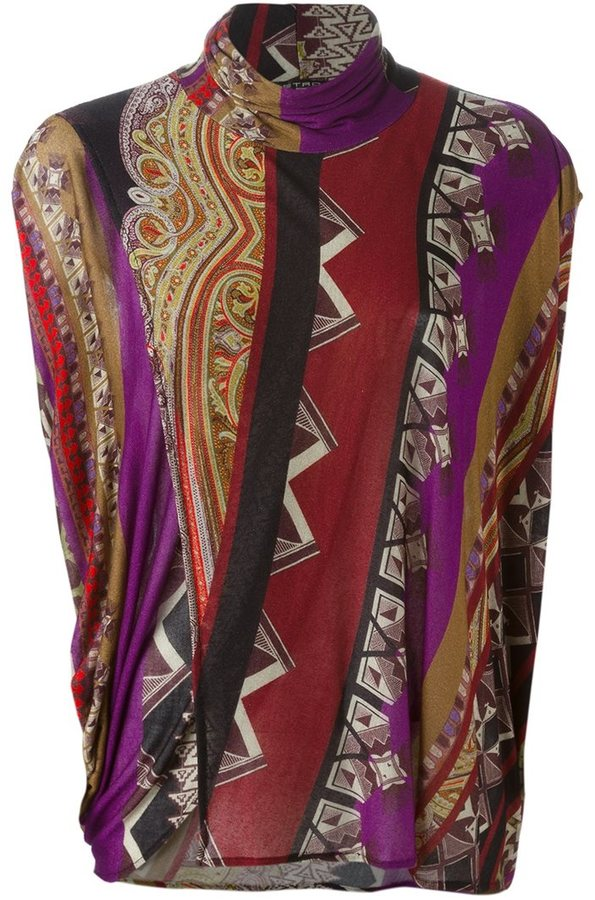 Etro Etro printed turtle neck sweater