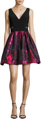 Xscape Evenings V-Neck Floral Fit-and-Flare Dress