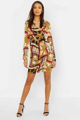 boohoo Tall Satin Scarf Print Shirt Dress