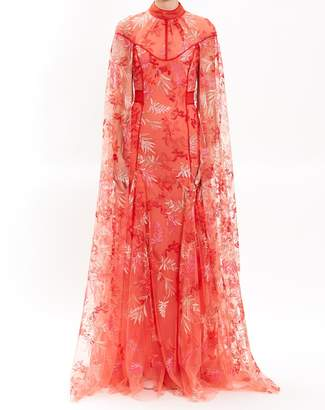J. Mendel Tangerine Embroidered Lace Gown