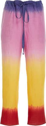 The Elder Statesman High-Rise Straight-Leg Linen Pants