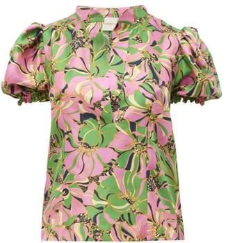 d6bad307 La DoubleJ Shortcake Puffed Sleeve Floral Print Silk Blouse - Womens - Green  Multi
