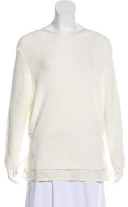 Moncler Lace-Accented Long Sleeve Sweater