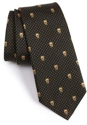 Men's Alexander Mcqueen Metallic Skull Silk Blend Tie $165 thestylecure.com