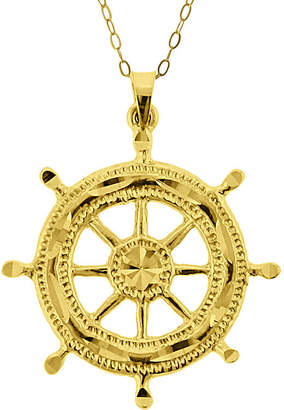 FINE JEWELRY 10K Yellow Gold Ship Wheel Pendant Necklace