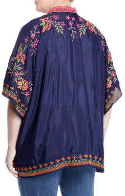 Neiman Marcus Plus Embroidered Open Front Cardigan, Plus Size