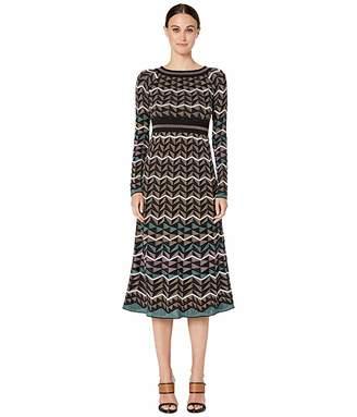 M Missoni Long Sleeve Midid Dress in Zigzag Stitch