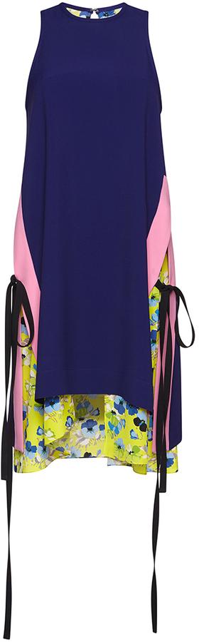 MSGM Color Block Blue Tie Dress