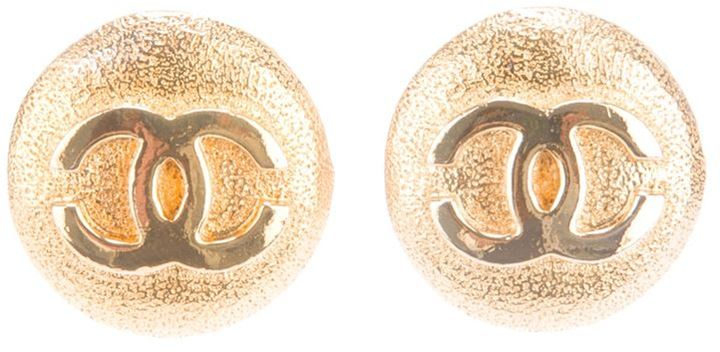 Chanel clip on logo earrings