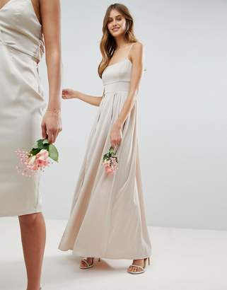 Asos DESIGN Bridesmaid satin square neck cami strap maxi dress