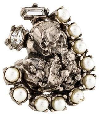 Saint Laurent Faux Pearl & Crystal Cocktail Ring