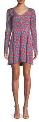 Diane von Furstenberg Abstract-Print V-Neck Mini Dress