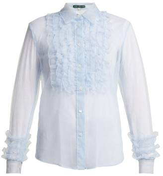 ALEXACHUNG Ruffle Front Tulle Blouse - Womens - Light Blue