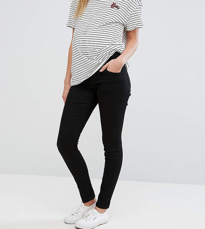 Asos Maternity ASOS DESIGN Maternity Ridley skinny jeans in clean black with under the bump waistband