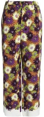 Marni Floral-Print Silk-Georgette Wide-Leg Pants