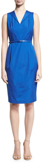 Max Mara Max Mara Sleeveless Pleated Cotton Dress, Blue