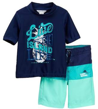 Tommy Bahama Island Life Rashguard Top & Board Shorts Set (Little Boys)