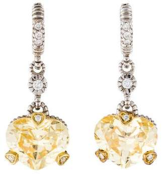Judith Ripka Canary Crystal & Diamond Fontaine Earrings