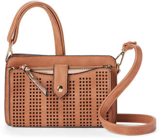 Violet Ray Cognac Perforated Crossbody