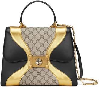 Gucci GG Supreme and leather top handle bag