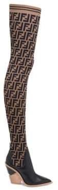Fendi Thigh-High Logo Sock Boots