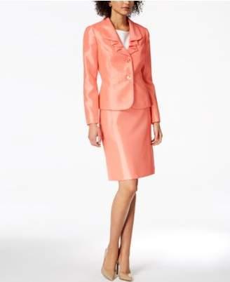 Le Suit Ruffle-Lapel Skirt Suit, Regular & Petite