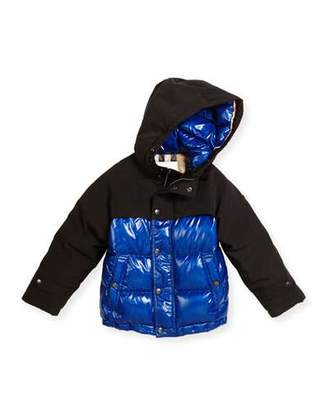 Burberry Howell Two-Tone Puffer Jacket, Bright Navy, Size 4-14 $450 thestylecure.com