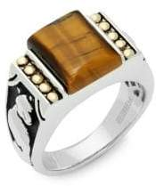 Effy Crystal, Tigers-Eye, 18K Gold and Sterling Silver Ring