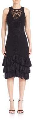 Jonathan Simkhai Applique Tulle Hem Silk Dress