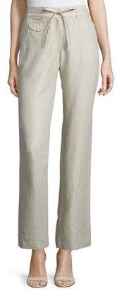 Neiman Marcus Straight-Leg Drawstring-Waist Linen Pants, Natural, Women's $125 thestylecure.com