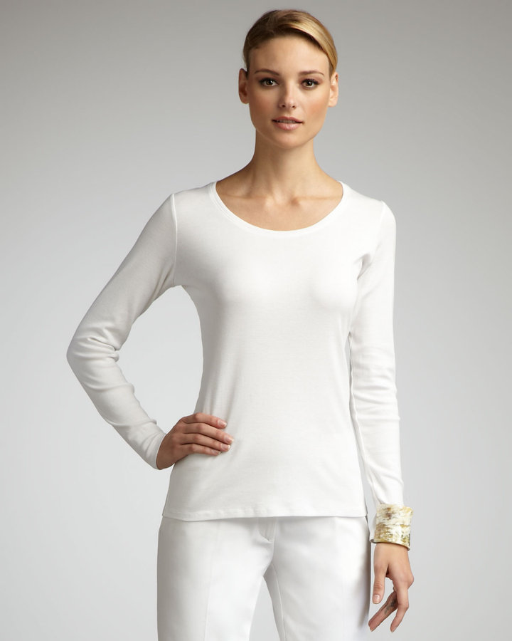 Eileen Fisher Long-Sleeve Cotton Tee