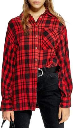 Topshop Mixed Plaid Oversized Shirt